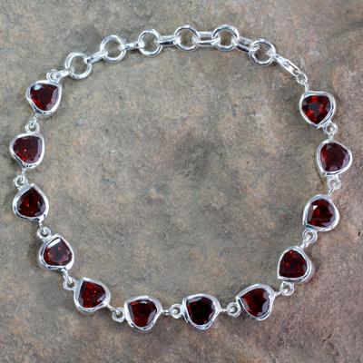 Garnet tennis bracelet, 'Romance All Around' - Romantic Garnet Heart Bracelet