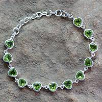 Peridot tennis bracelet, 'Romance All Around' - Romantic Peridot Heart Bracelet