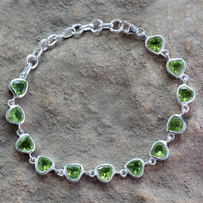 Peridot tennis bracelet, 'Romance All Around' - Romantic Peridot Heart Bracelet
