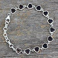 Smoky quartz tennis bracelet, 'Romance All Around' - Romantic Smoky Quartz Heart Bracelet