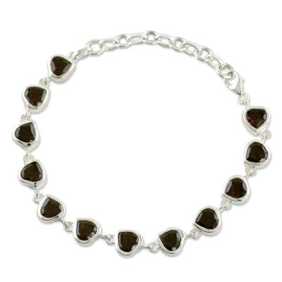 Romantic Smoky Quartz Heart Bracelet