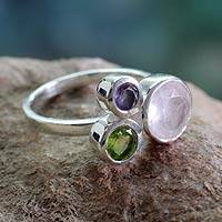 Rose quartz and peridot cocktail ring, 'Modern Trio' - Modern Rose Quartz Ring with Peridot and Amethyst