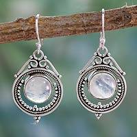Rainbow moonstone dangle earrings, 'Mumbai Moons'