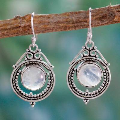 Rainbow moonstone dangle earrings, 'Mumbai Moons' - Handcrafted Rainbow Moonstone and Sterling Silver Earrings