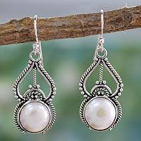 Cultured pearl dangle earrings, 'Mughal Majesty' - White Pearl and Sterling Silver Hook Earrings