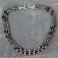 Labradorite and garnet strand necklace, 'Fire and Mist' - Multi-Strand Handcrafted Garnet and Labradorite Necklace