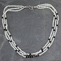 Rainbow moonstone and onyx strand necklace, 'Moonlit Serenade' - Fair Trade Artisan Crafted Moonstone and Onyx Necklace