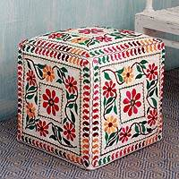 Embroidered cotton ottoman cover, 'Barmer Blooms' - Multicolored Embroidery Square Ottoman Cover