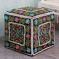 Embroidered cotton ottoman cover, 'Bollywood Blooms' - Multi Color Embroidered Cotton Ottoman Cover