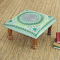 Cotton embroidered foot stool, 'Silver Mandala' - Grey and Green Cotton Embroidered Foot Stool