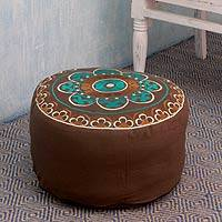 Embroidered cotton ottoman cover, 'Jaipur Greeting' - Brown and Teal Cotton Embroidered Ottoman Cover