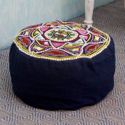 Embroidered cotton ottoman cover, 'Rajasthan Galaxy' - Multicolored Embroidery Blue Ottoman Cover