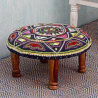 Cotton embroidered foot stool, 'Rajasthan Galaxy' - Blue Multicolored Indian Foot Stool