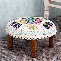 Cotton embroidered foot stool, 'Floral Fauna' - Fair Trade Embroidered Foot Stool from India