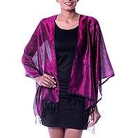 Varanasi silk shawl, 'Violet Lavender' - Hand Woven Floral Shawl Wrap