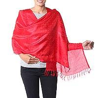 Varanasi silk shawl, 'Woman in Red' - Scarlet Wrap Handcrafted Varanasi Silk Shawl India
