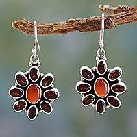 Garnet and carnelian flower earrings, 'Passionate' - Floral Earings Adorned with Carnelian and Garnet