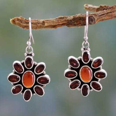 Garnet and carnelian flower earrings, 'Passionate' - Carnelian Floral Earrings with Garnet Petals