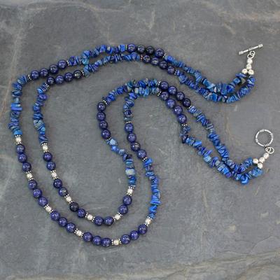 Lapis lazuli strand necklace, 'Blue Mystique' - Handcrafted Lapis Lazuli Double Strand Necklace
