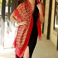 Silk shawl, 'Flames of Desire' - Indian Silk Shawl Wrap