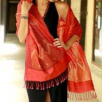Silk shawl, 'Twilight Fantasy' - Red Silk Shawl Wrap from India