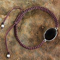 Smoky quartz pendant bracelet, 'Solitaire' - Macrame Bracelet with Smoky Quartz and Silver