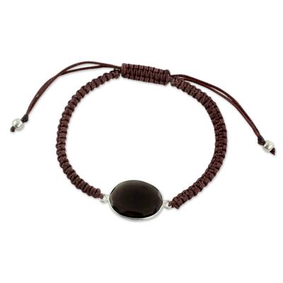 Macrame Bracelet with Smoky Quartz and Silver
