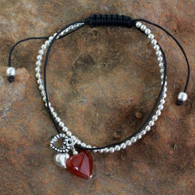 Carnelian charm bracelet, 'Love Charm' - Carnelian and Silver Heart Theme Charm Bracelet