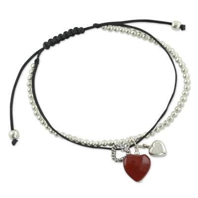 Carnelian and Silver Heart Theme Charm Bracelet