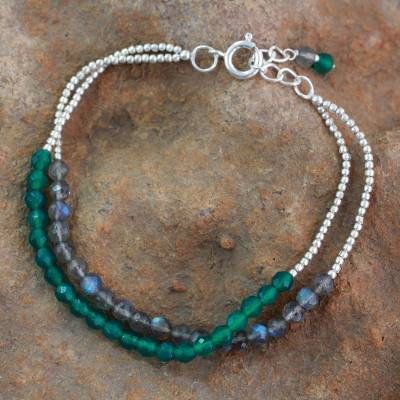 Labradorite and onyx beaded bracelet, 'In Peace' - Beaded Silver Bracelet with Labradorite and Green Onyx