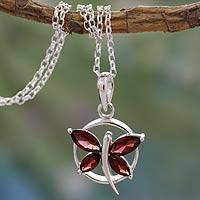 Garnet pendant necklace, 'Renewal' - Garnet Butterfly Sterling Silver Necklace