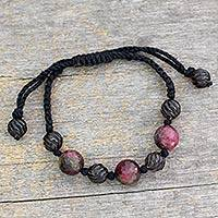 Agate Shambhala-style bracelet, 'Nocturnal Glow' - Beaded Shambhala-style Bracelet with Agate and Smoky Quartz