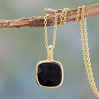 Gold vermeil onyx pendant necklace, 'Modern Charm' - Hand Made Gold Vermeil Faceted Onyx Necklace