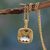 Gold vermeil citrine pendant necklace,