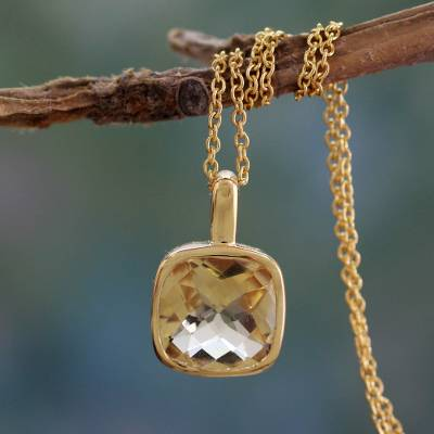 Gold vermeil citrine pendant necklace, 'Modern Charm' - Hand Made Gold Vermeil Faceted Citrine Necklace