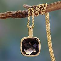 Gold vermeil smoky quartz pendant necklace, 'Modern Charm' - Hand Made Gold Vermeil Faceted Smoky Quartz Necklace