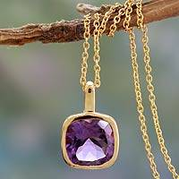 Gold vermeil amethyst pendant necklace, 'Modern Charm' - Hand Made Gold Vermeil Faceted Amethyst Necklace