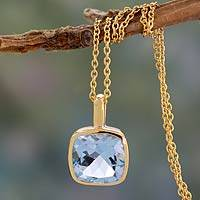 Gold vermeil blue topaz pendant necklace, 'Modern Charm' - Hand Made Gold Vermeil Faceted Blue Topaz Necklace