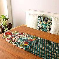 Applique table runner, 'Golden Paisley' - India Embroidered Applique Table Runner