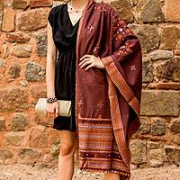 Handwoven shawl, 'Mauve Affection' - Handwoven Gujrati Shawl Peach Mauve India