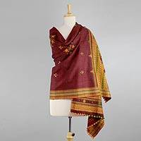 Handwoven shawl, 'Royal Flame' - Red Handwoven Gujrati Shawl with Mirror Work