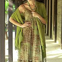 Silk and wool shawl, 'Persian Forest' - Handcrafted Wrap Silk Wool Blend Shawl