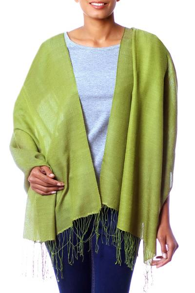 Silk and wool shawl, 'Persian Forest' - Handcrafted Wrap Silk Wool Blend Shawl