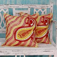 Applique cushion covers, 'Paisley Sun' (pair) - Embroidered Applique Red and Yellow Cushion Covers (Pair)