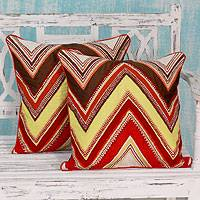 Applique cushion covers, 'Zigzag Brilliance' (pair) - Embroidered Applique Zigzag Cushion Covers (Pair)