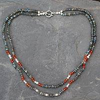 Labradorite and cultured pearl strand necklace, 'Essence' - Handcrafted Necklace with Labradorite Pearl and Carnelian