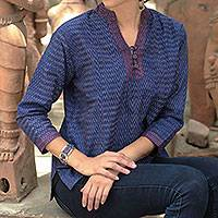Cotton tunic, 'Whispering Rain' - Blue Ikat Handwoven Cotton Tunic
