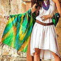 Varanasi silk shawl, 'Cool Color Fusion' - Tie Dye Blue and Green Varanasi Silk Shawl