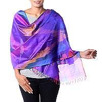 Varanasi silk shawl, 'Festive Color Fusion' - Tie Dye Blue and Rose Varanasi Silk Shawl