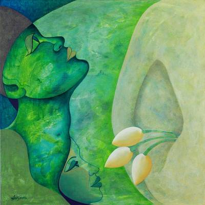 'Moonlight Meditation' - Modern Expressionist Hindu Painting